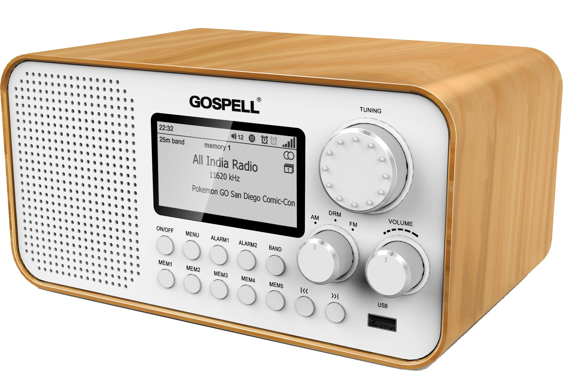 GR-216 New Generation DRM Receiver , AM  And FM Stereo Reception